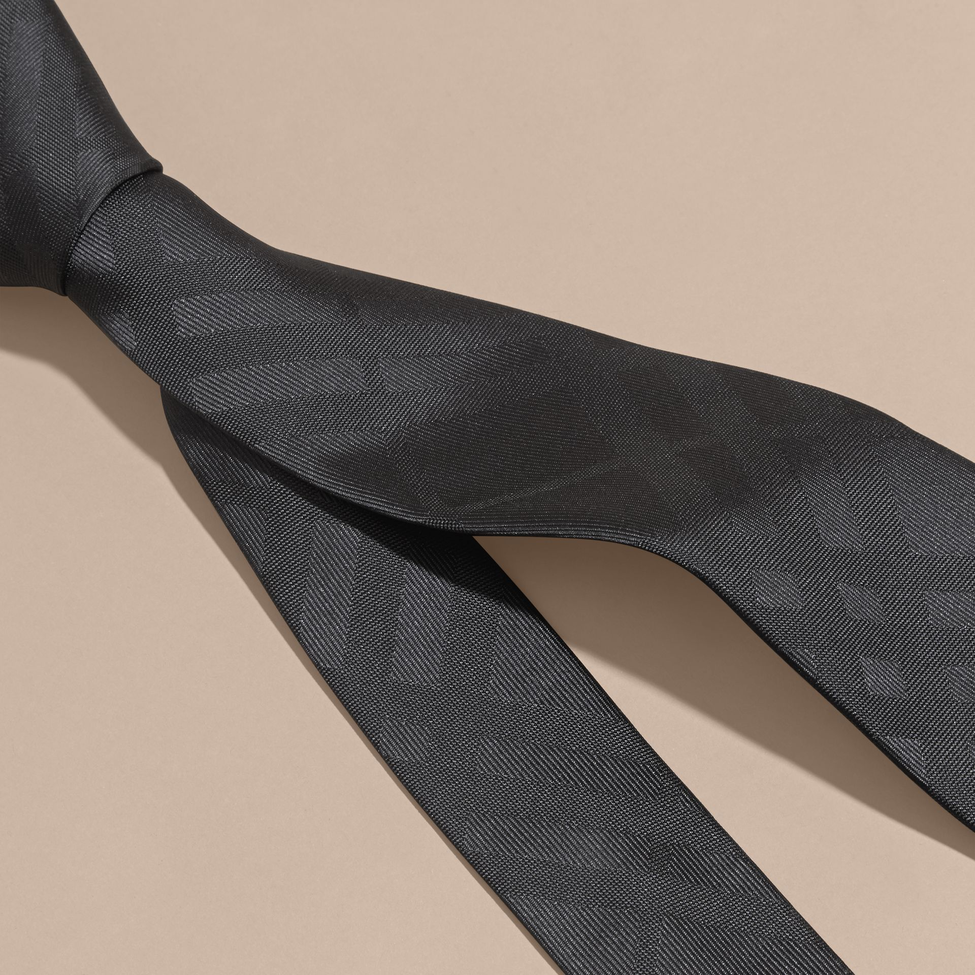 Classic Cut Check Silk Jacquard Tie in Charcoal - Men | Burberry - gallery image 2