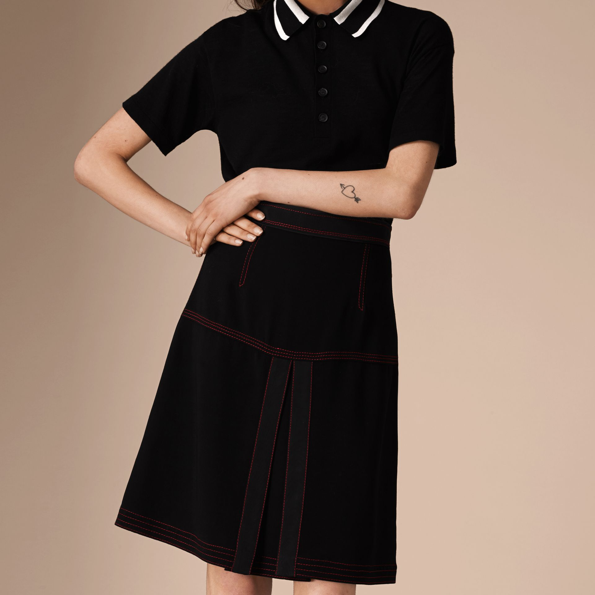 Black Military Pleat A-line Skirt - gallery image 4