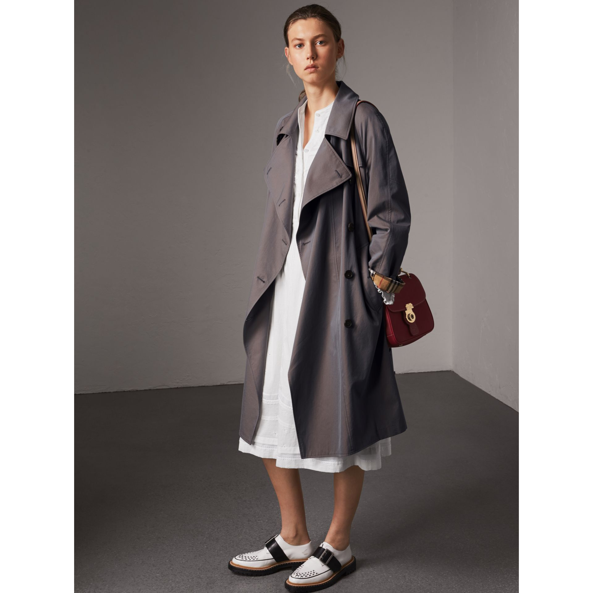 Tropical Gabardine Asymmetric Trench Coat in Lilac Grey - Women | Burberry Australia - gallery image 6