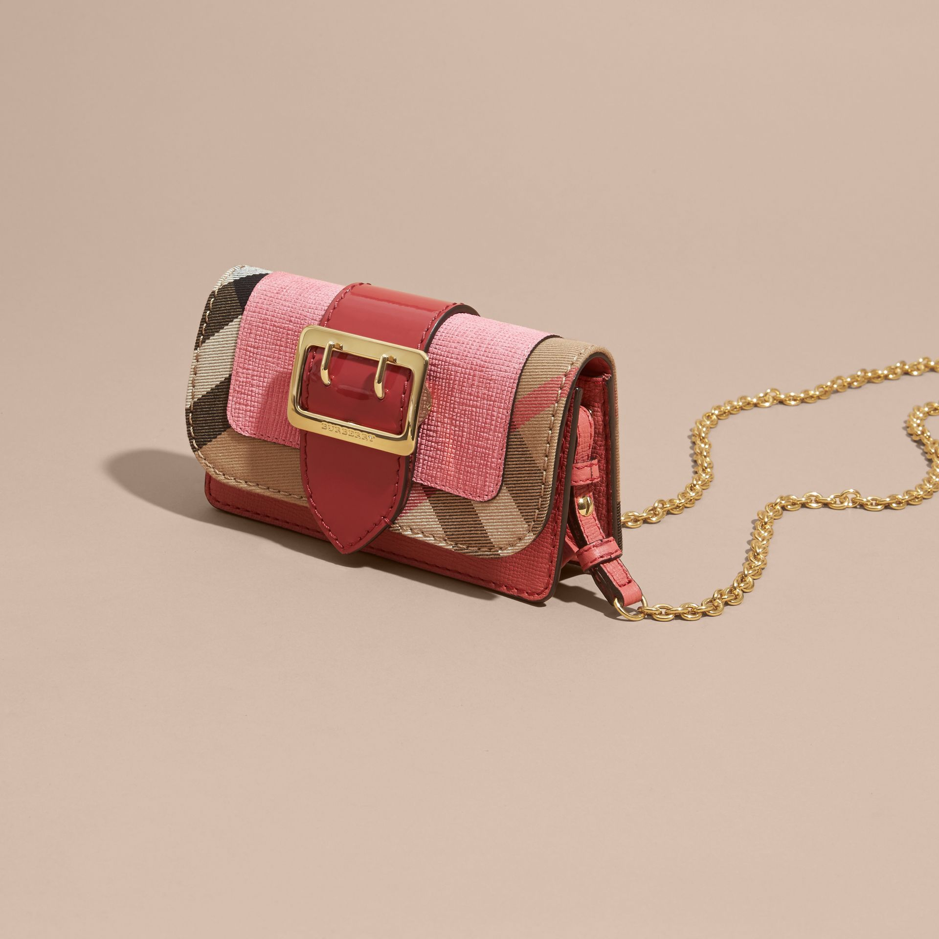 Rose pink The Mini Buckle Bag in Leather and House Check Rose Pink - gallery image 8