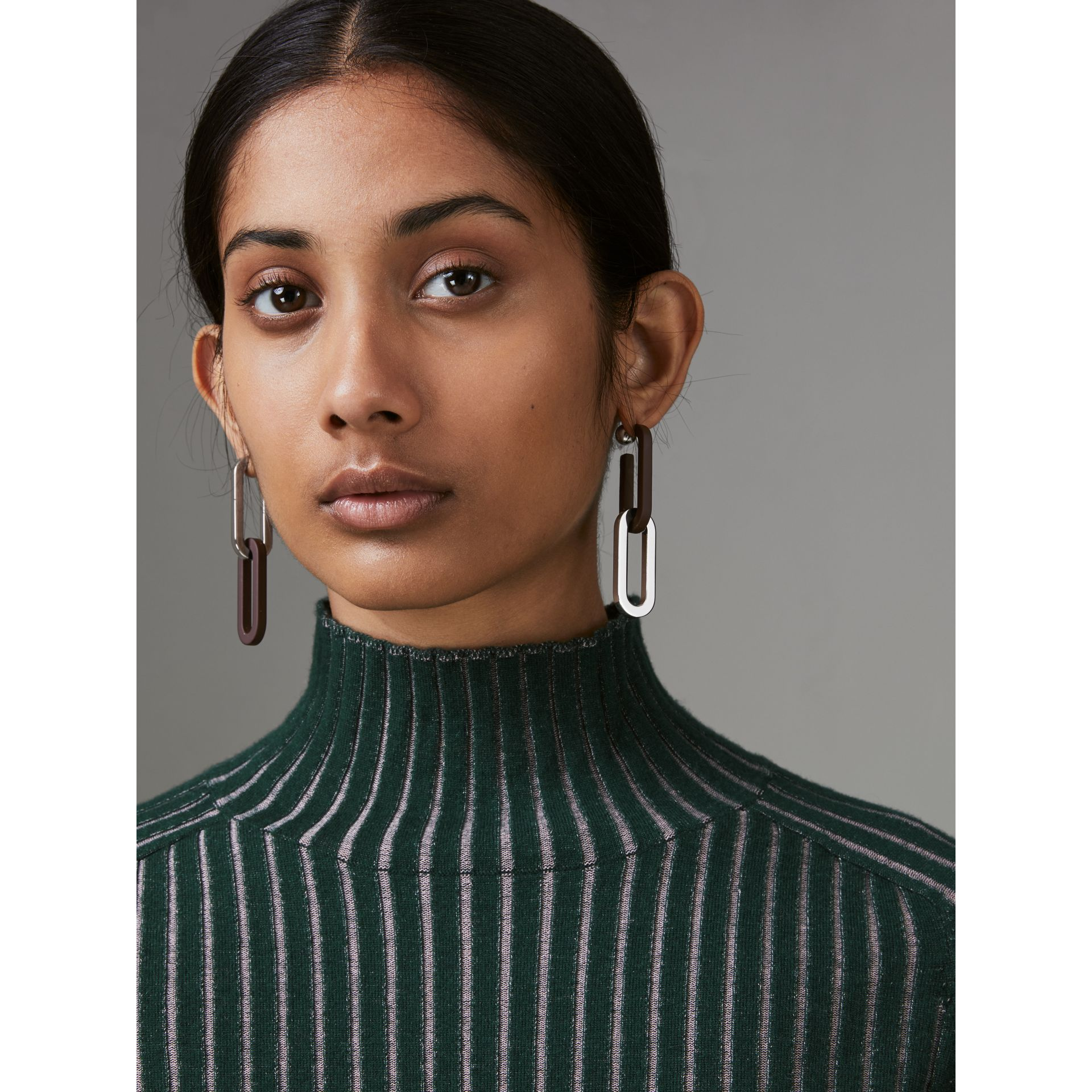 Rubberised and Palladium-plated Link Drop Earrings in Deep Claret - Women | Burberry Canada - gallery image 1