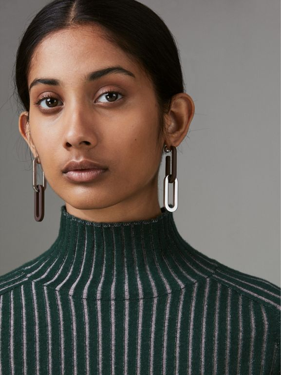 Rubberised and Palladium-plated Link Drop Earrings in Deep Claret - Women | Burberry - cell image 1