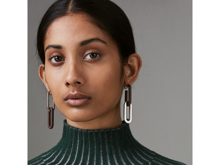 Pendants d'oreilles à maillons plaqués palladium et caoutchouc (Bordeaux Intense) - Femme | Burberry Canada - cell image 1