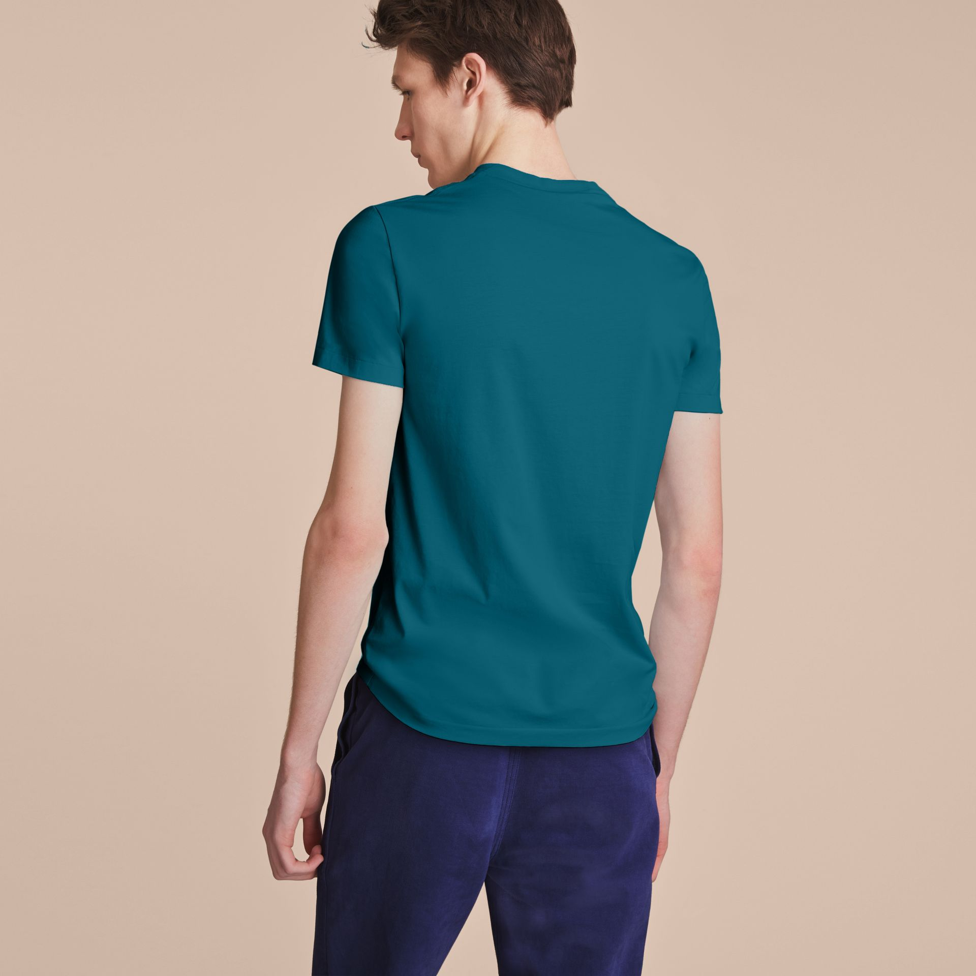 Cotton V-neck T-shirt in Mineral Blue - gallery image 3