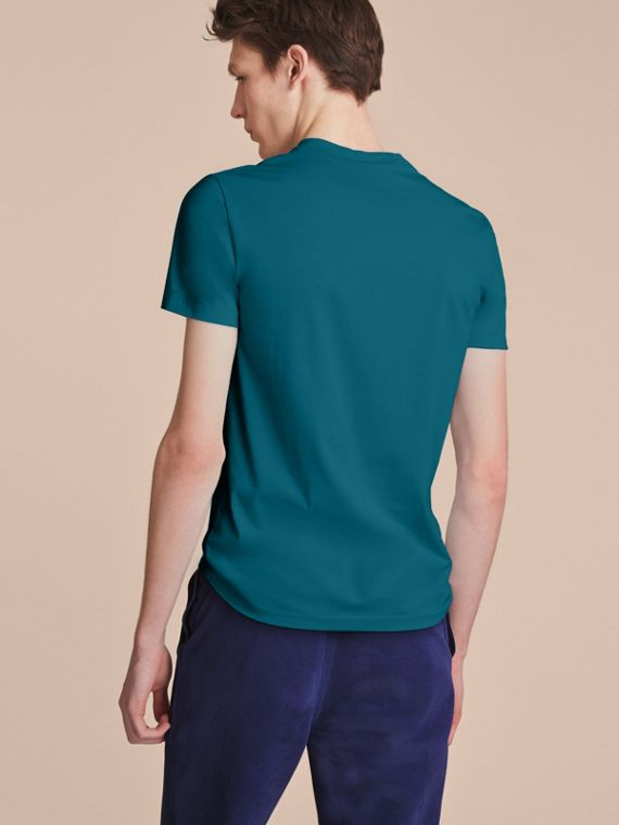 Cotton V-neck T-shirt in Mineral Blue - cell image 2