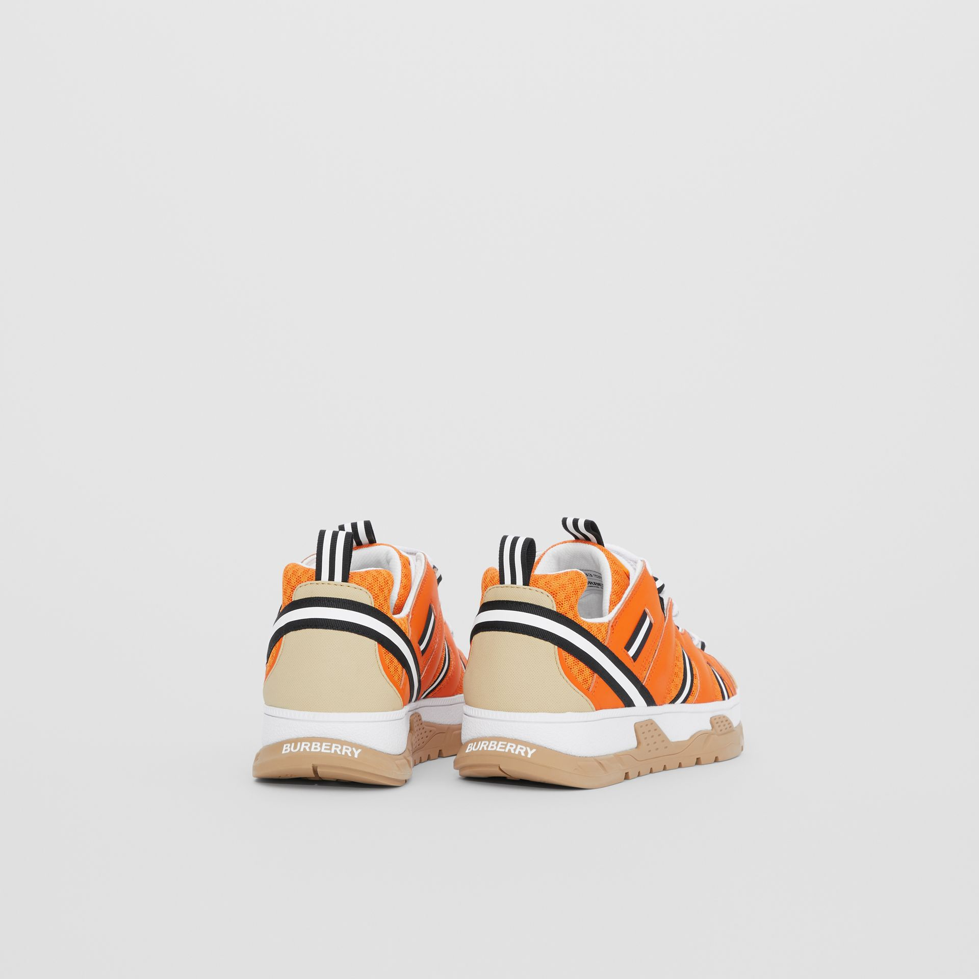 Leather and Mesh Union Sneakers in Bright Orange - Children | Burberry United States - gallery image 2