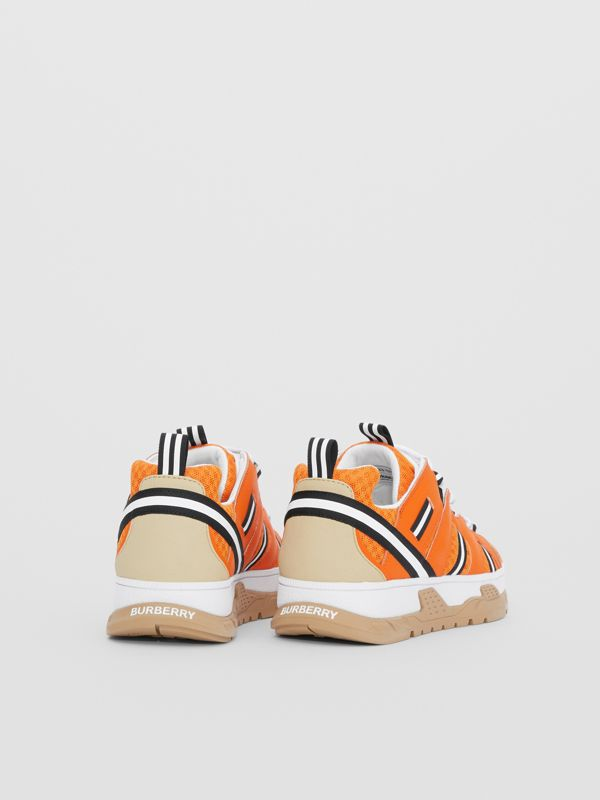 Leather and Mesh Union Sneakers in Bright Orange - Children | Burberry United States - cell image 2