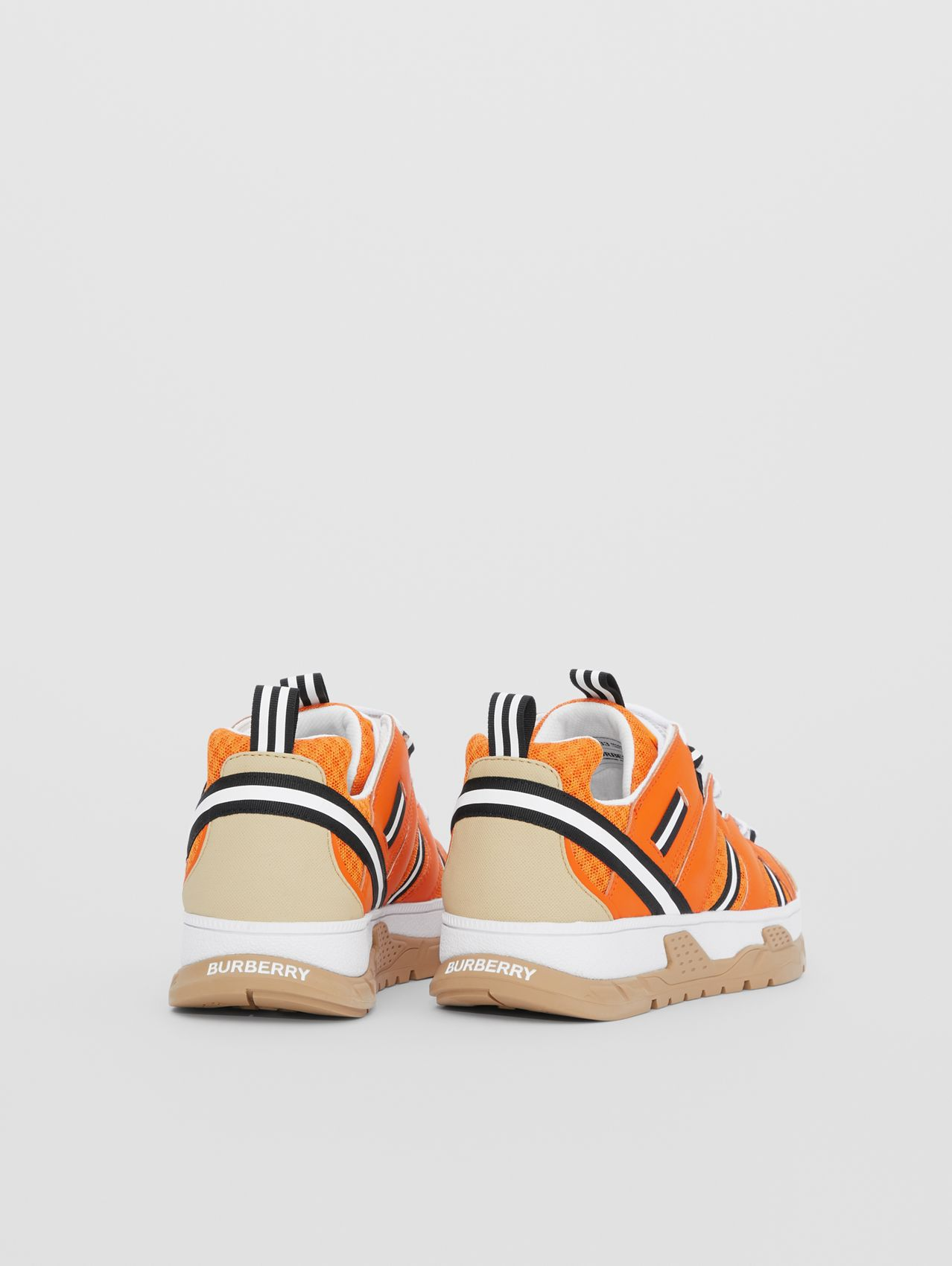 Leather and Mesh Union Sneakers in Bright Orange