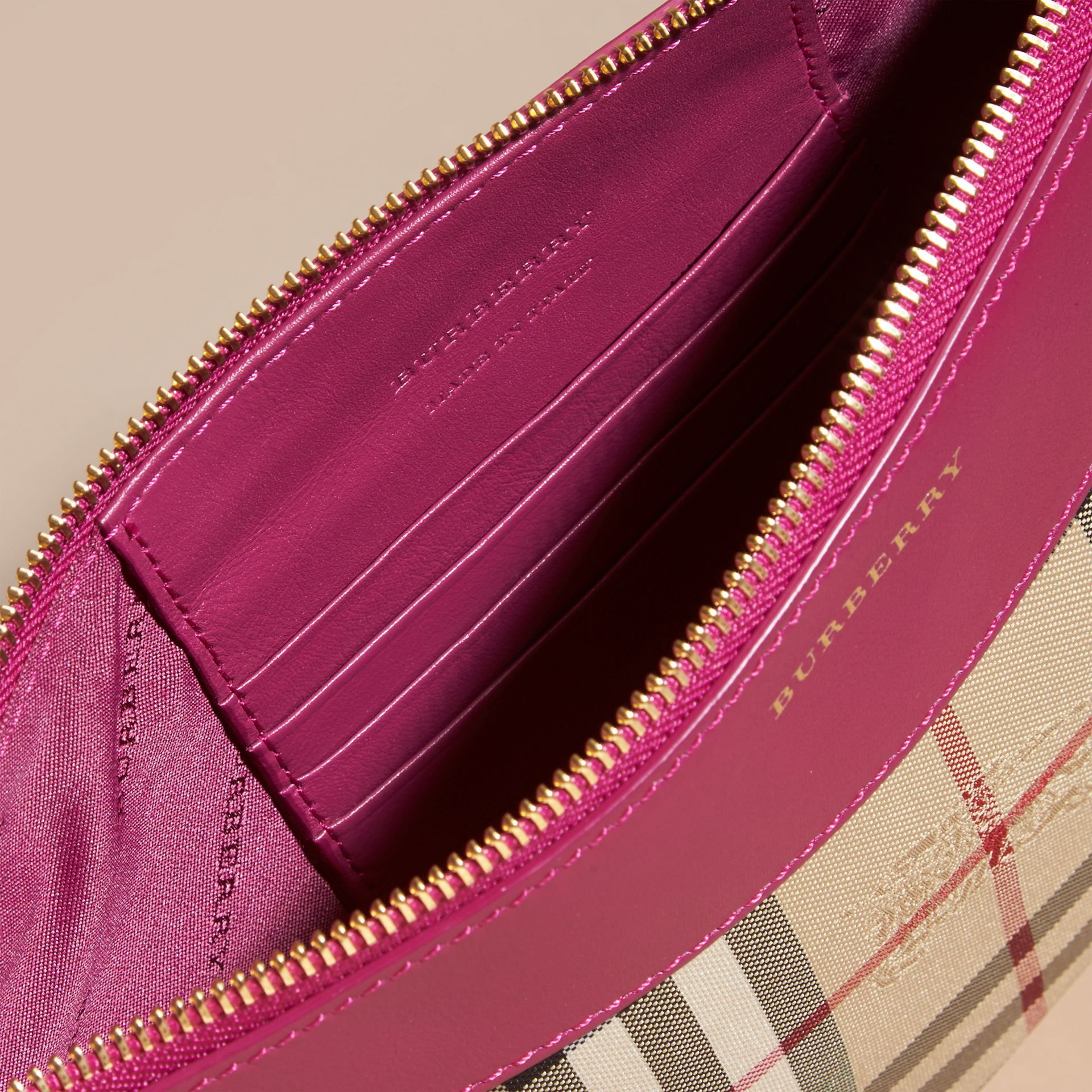 Horseferry Check and Leather Clutch Bag Brilliant Fuchsia - gallery image 6