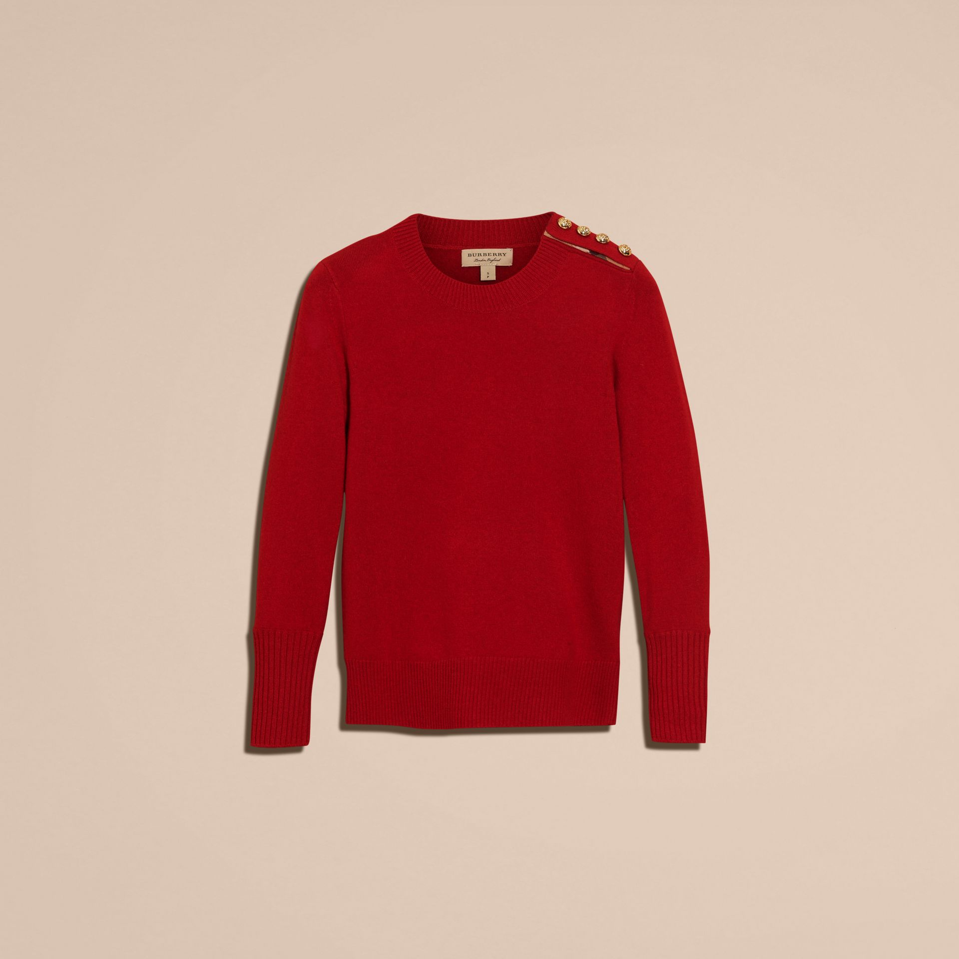 Cashmere Sweater with Crested Buttons Parade Red - gallery image 4