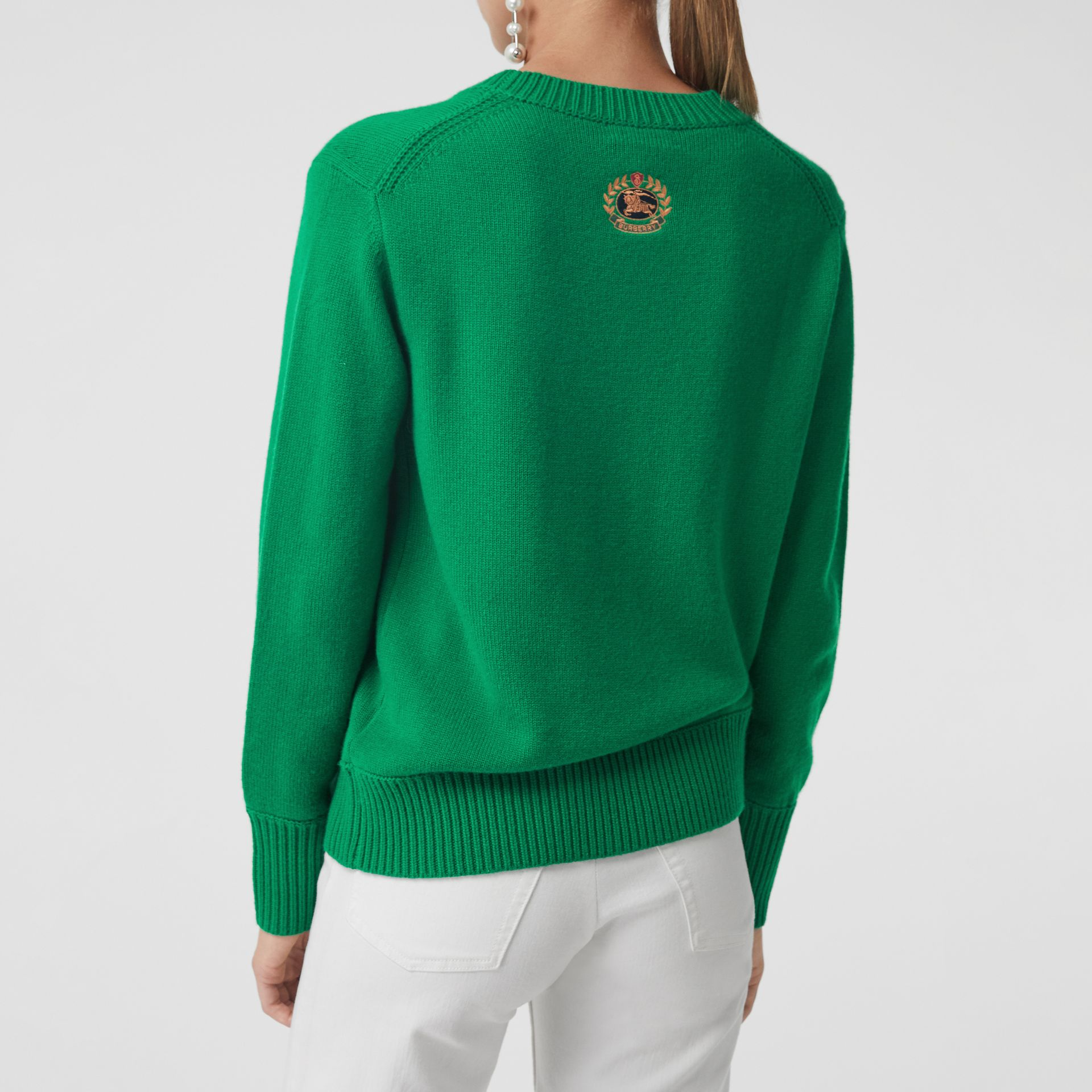 Archive Logo Appliqué Cashmere Sweater in Vibrant Green - Women | Burberry Australia - gallery image 2
