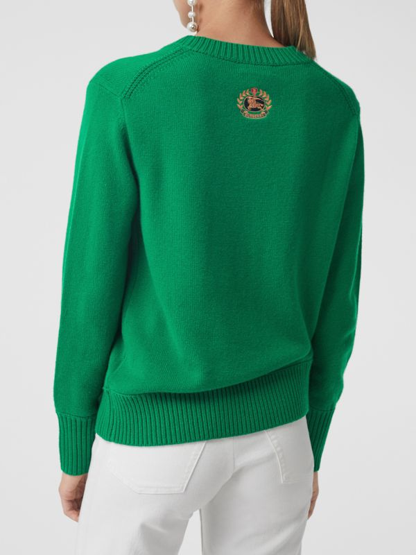Archive Logo Appliqué Cashmere Sweater in Vibrant Green - Women | Burberry Australia - cell image 2