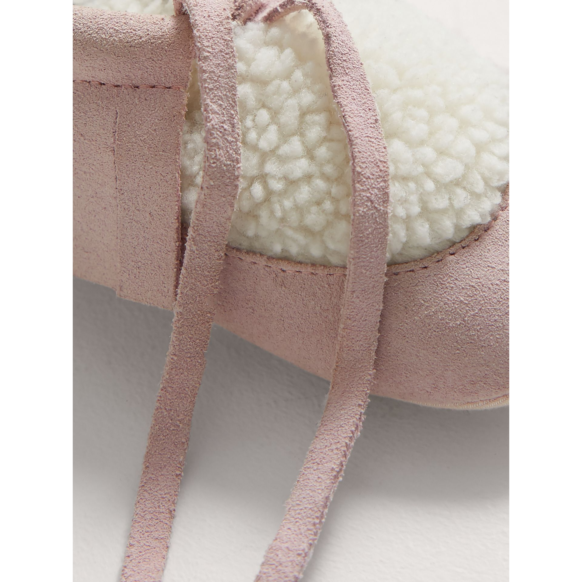 Fringed Suede and Faux Shearling Booties in Ice Pink | Burberry Australia - gallery image 2