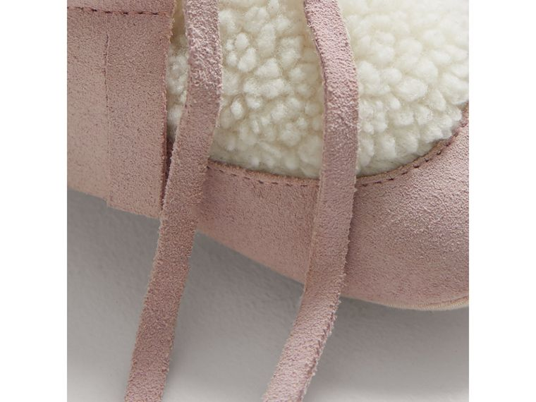 Fringed Suede and Faux Shearling Booties in Ice Pink | Burberry Australia - cell image 1