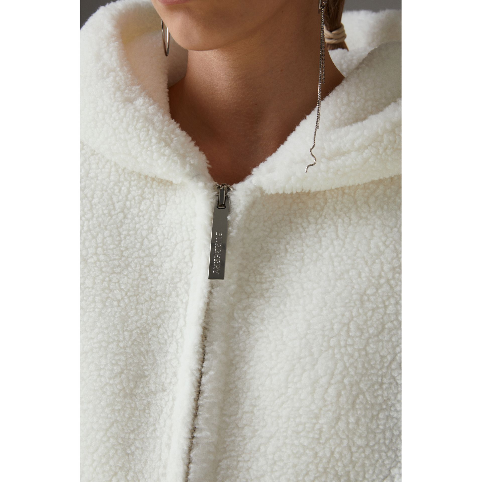 Striped Detail Faux Shearling Hooded Jacket in Off White - Women | Burberry - gallery image 1