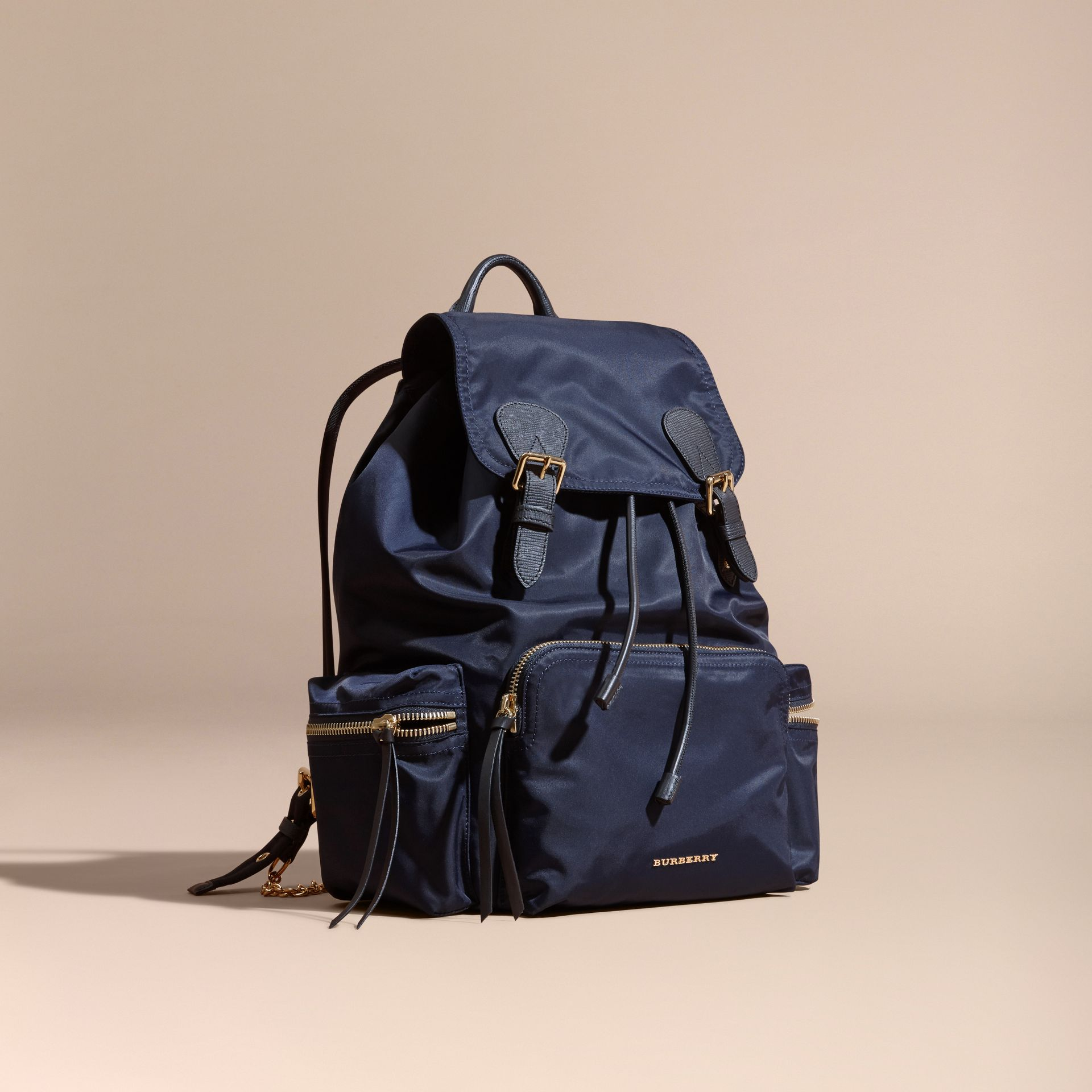 The Large Rucksack in Technical Nylon and Leather Ink Blue - gallery image 1