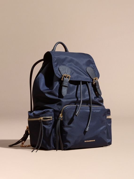 The Large Rucksack in Technical Nylon and Leather Ink Blue