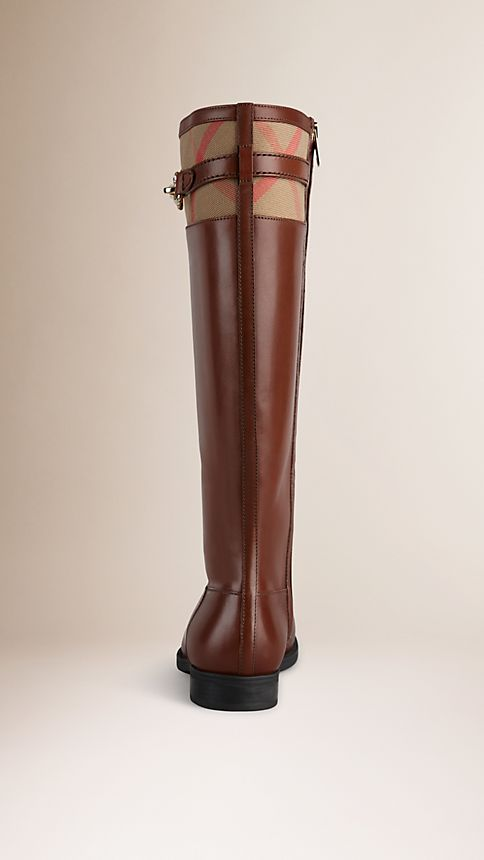 Dark tan House Check Detail Riding Boots - Image 2