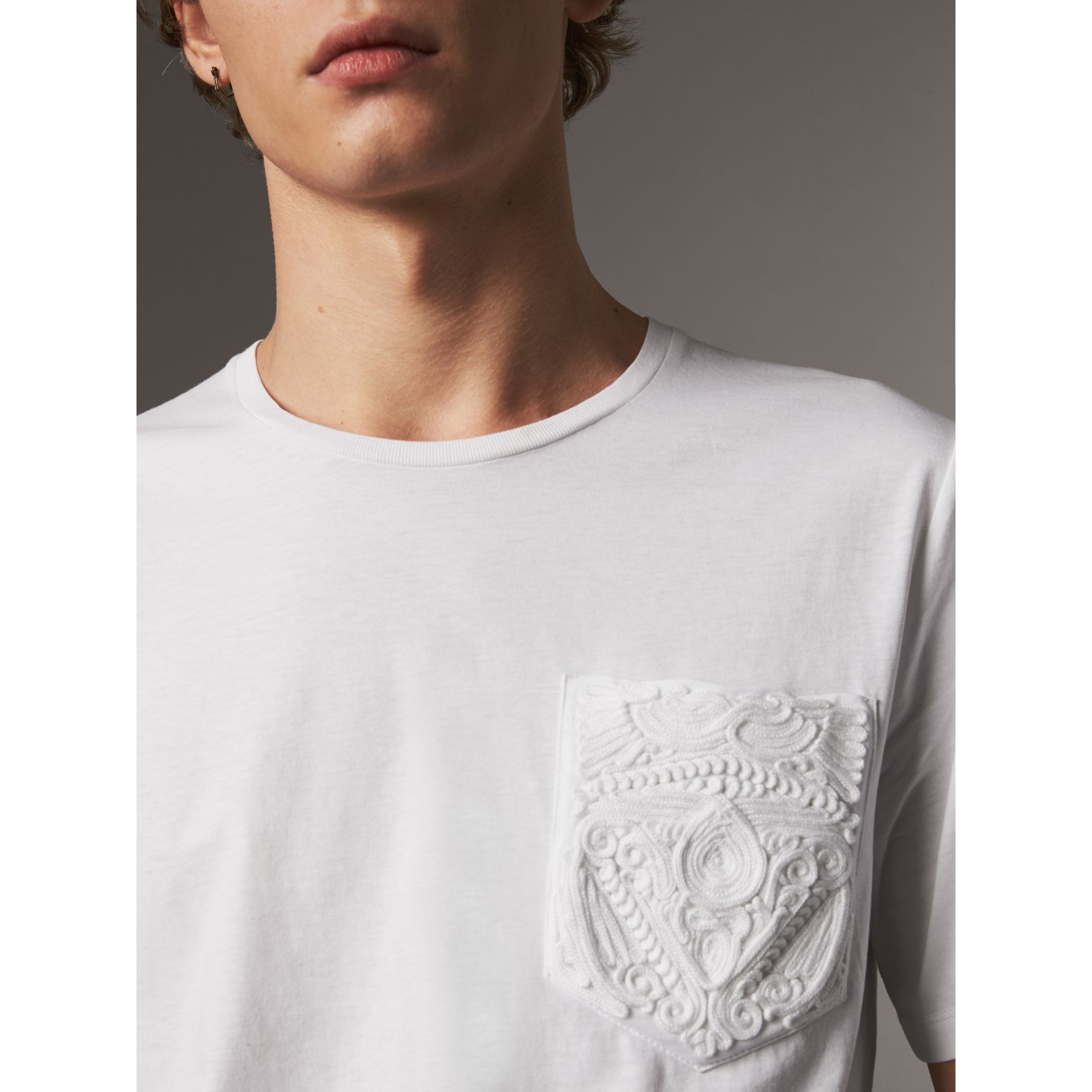 Rope Embroidered Pocket Cotton T-shirt in White - Men | Burberry United States - gallery image 1