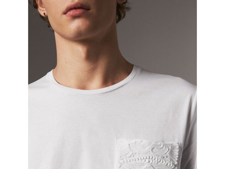 Rope Embroidered Pocket Cotton T-shirt in White - Men | Burberry - cell image 1