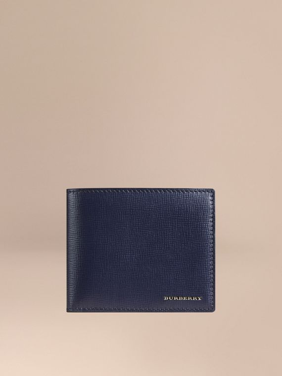 London Leather ID Wallet in Dark Navy - Men | Burberry Singapore