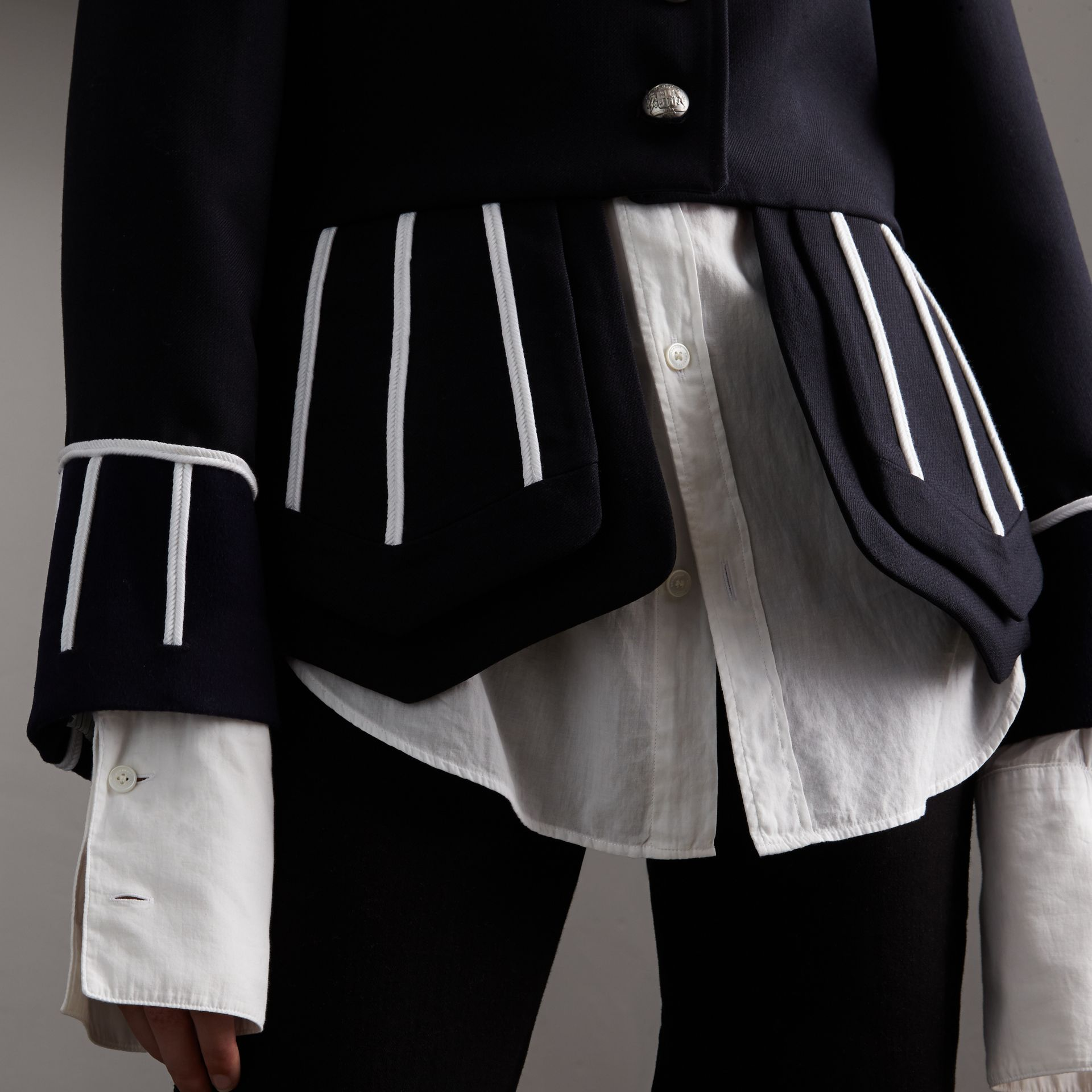 Cord Detail Wool Military Jacket in Navy - Women | Burberry - gallery image 5