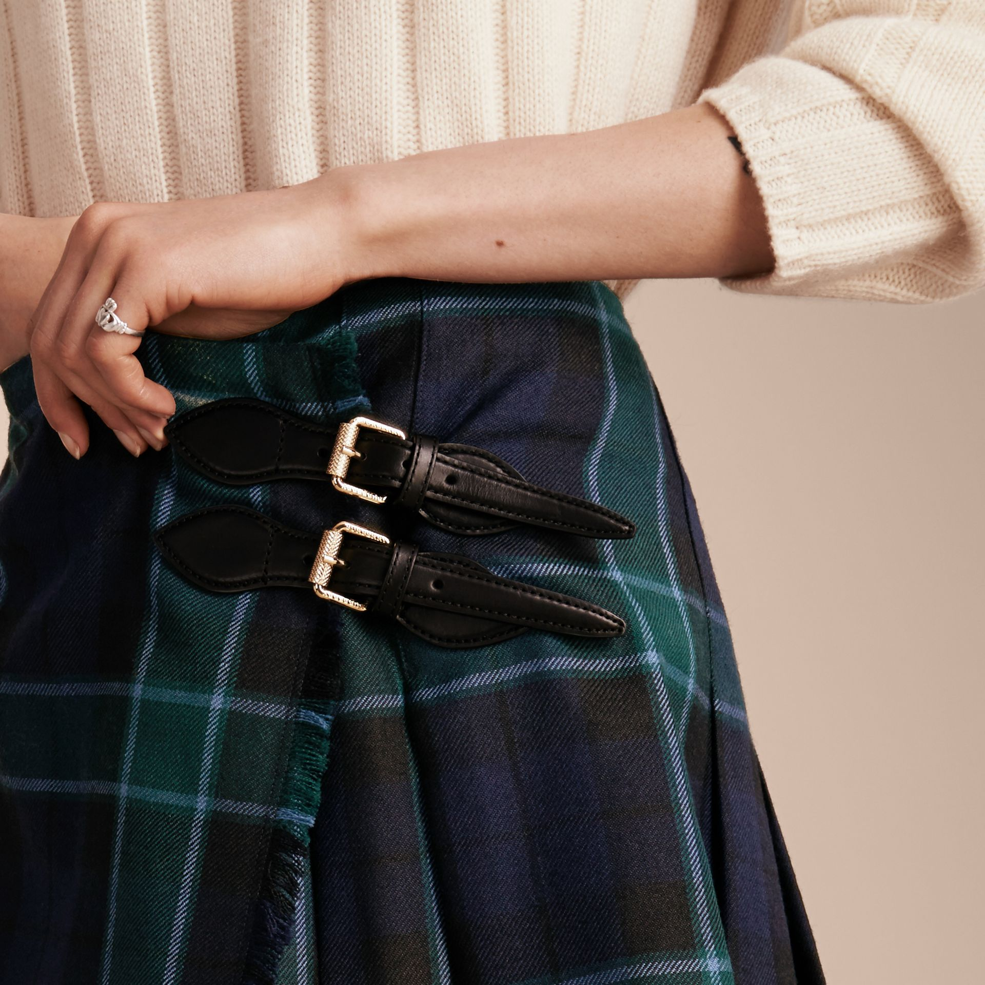 Bottle green Check Wool Kilt - gallery image 5