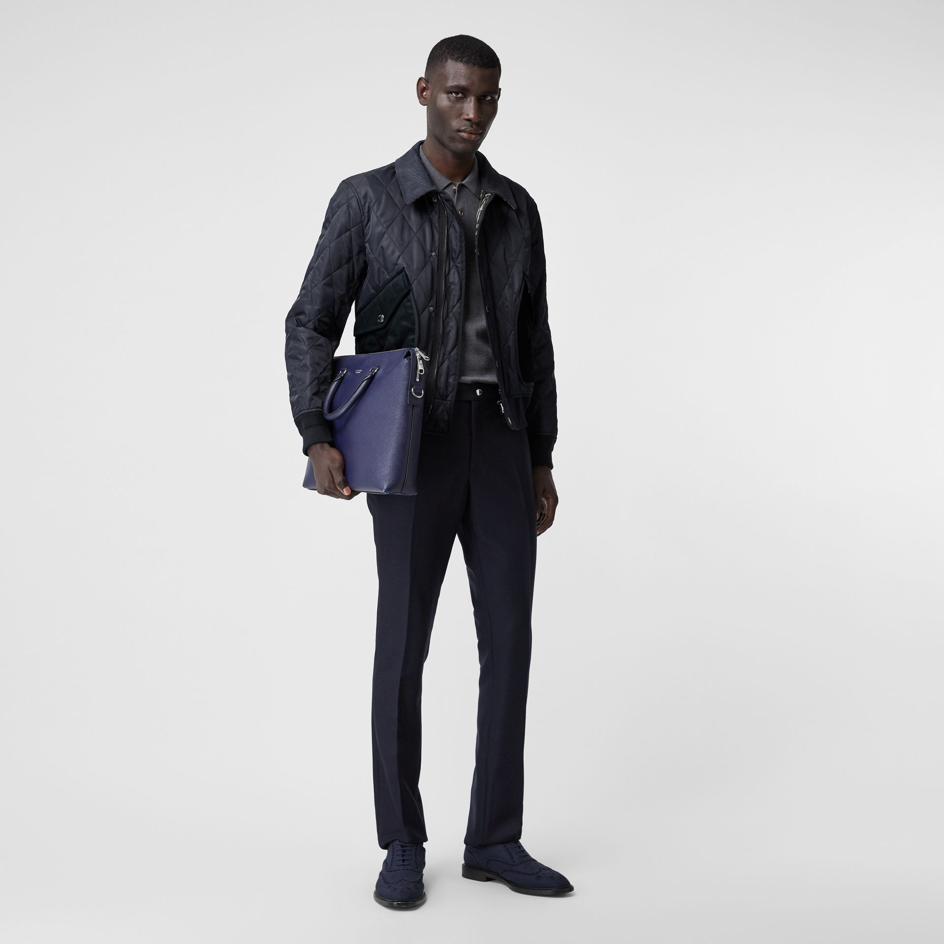 Diamond Quilted Thermoregulated Jacket in Navy - Men | Burberry - gallery image 0