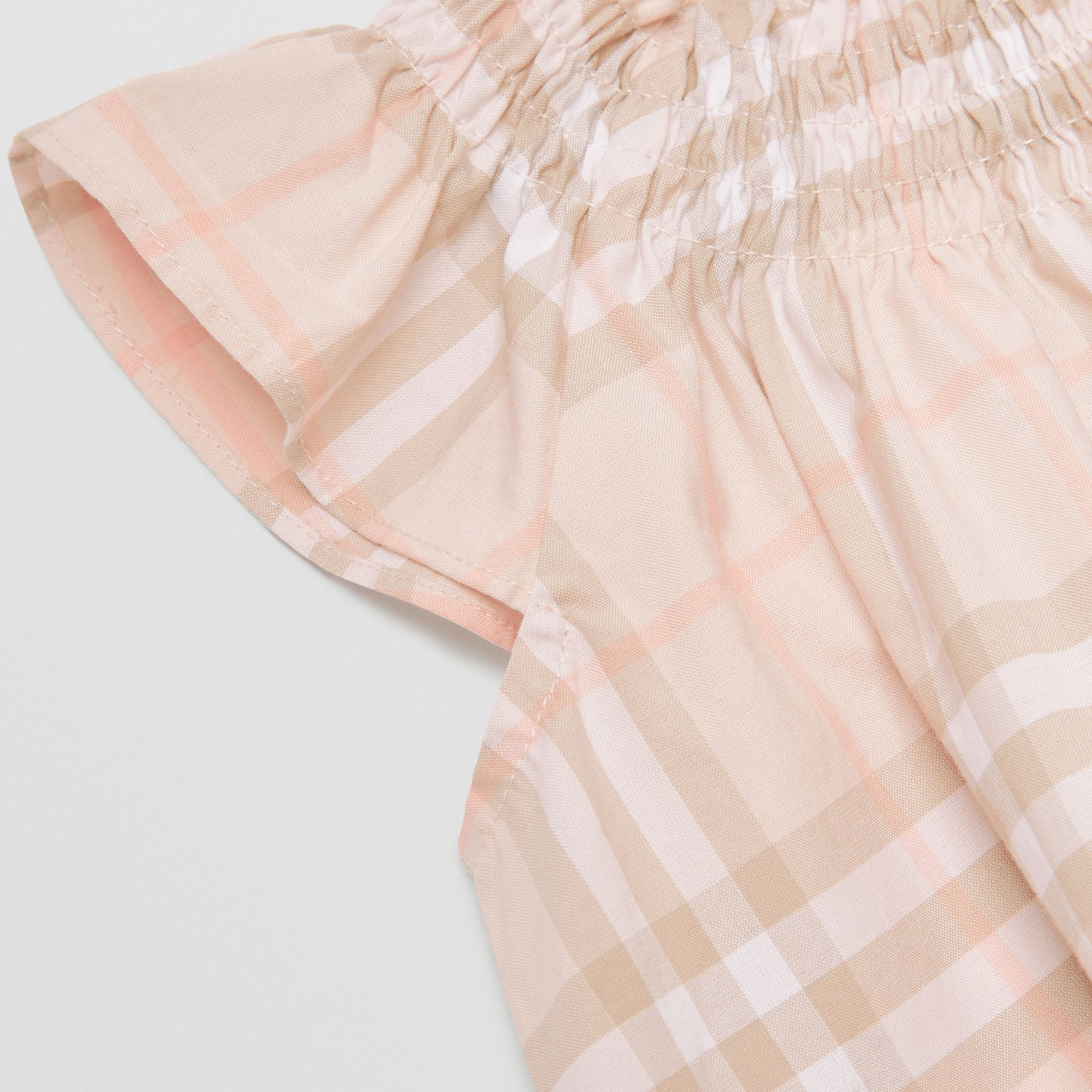 Smocked Vintage Check Cotton Dress in Pale Pink Apricot - Children | Burberry - gallery image 1