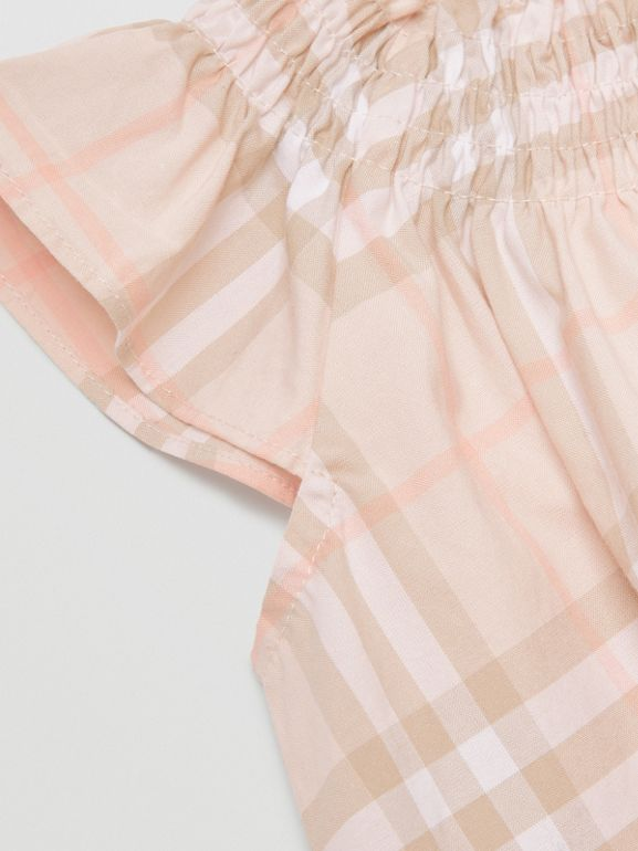 Smocked Vintage Check Cotton Dress in Pale Pink Apricot - Children | Burberry United Kingdom - cell image 1