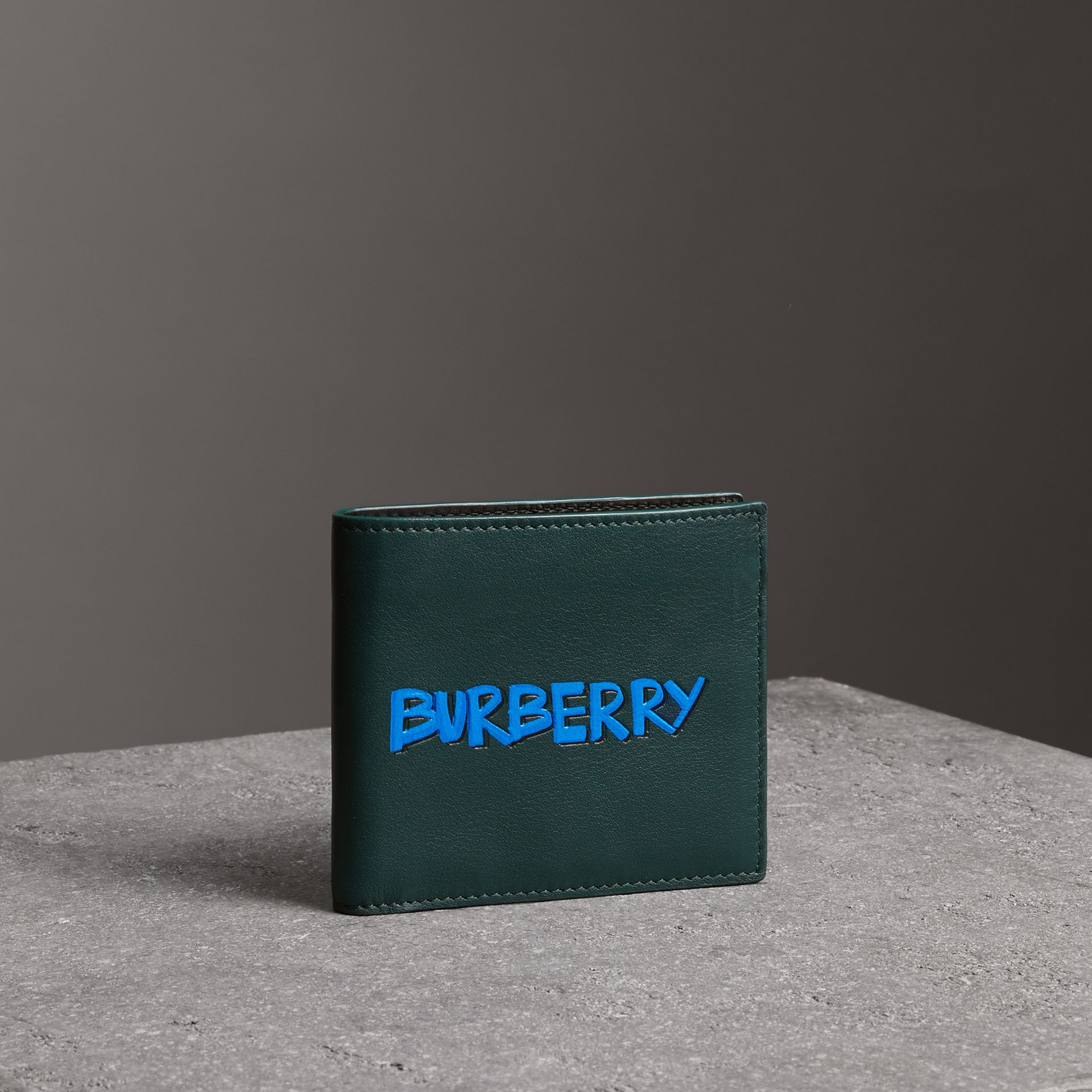 Graffiti Print Leather International Bifold Wallet in Deep Bottle Green - Men | Burberry - gallery image 0