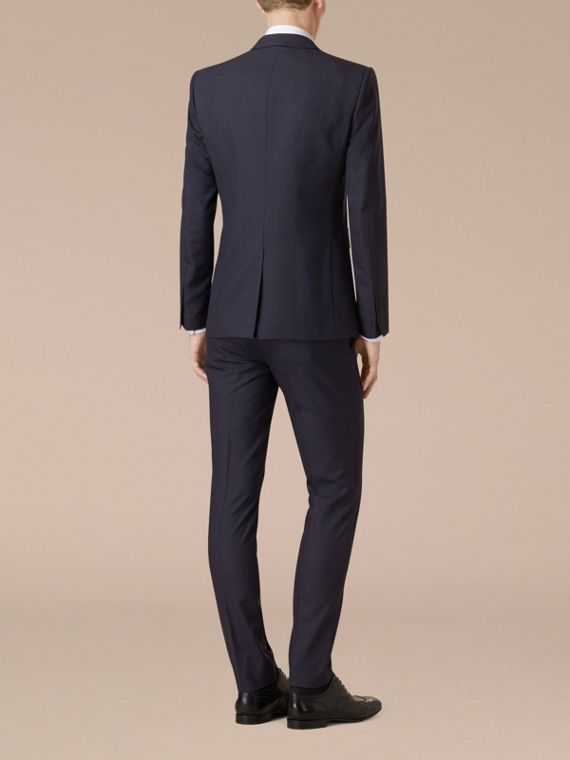 Navy Slim Fit Check Wool Part-canvas Suit - cell image 2
