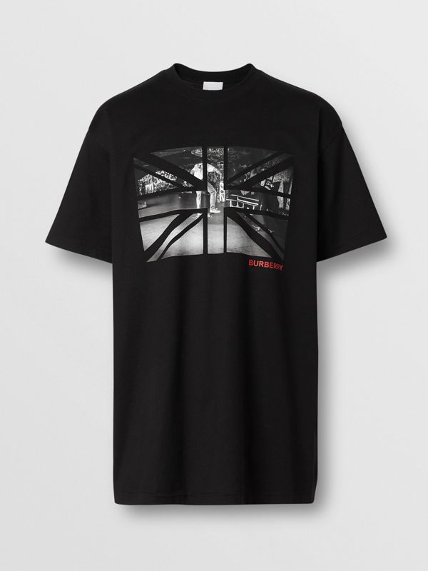 Union Jack Photo Print Cotton Oversized T-shirt in Black - Men | Burberry - cell image 3
