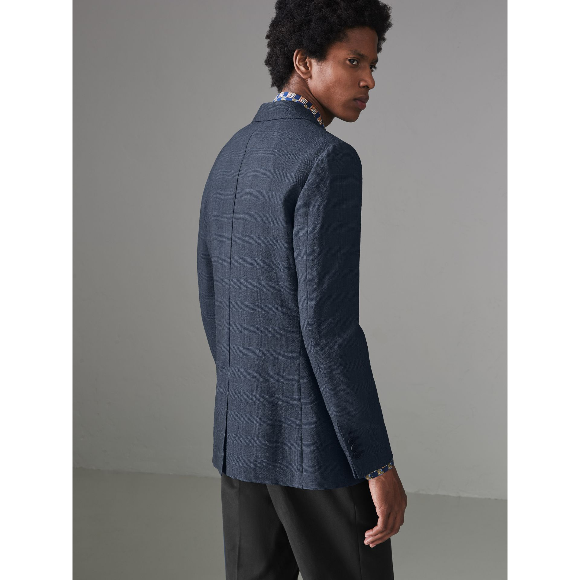 Windowpane Stretch Wool Tailored Jacket in Bright Navy - Men | Burberry - gallery image 2