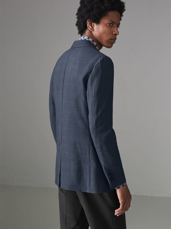 Windowpane Stretch Wool Tailored Jacket in Bright Navy - Men | Burberry Australia - cell image 2