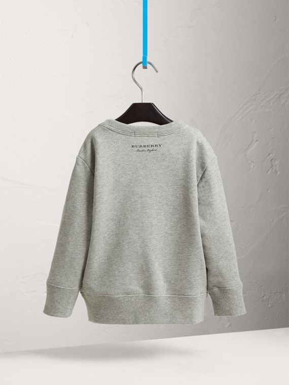 Beasts Appliqué Cotton Jersey Sweatshirt in Grey Melange - Boy | Burberry Hong Kong - cell image 3