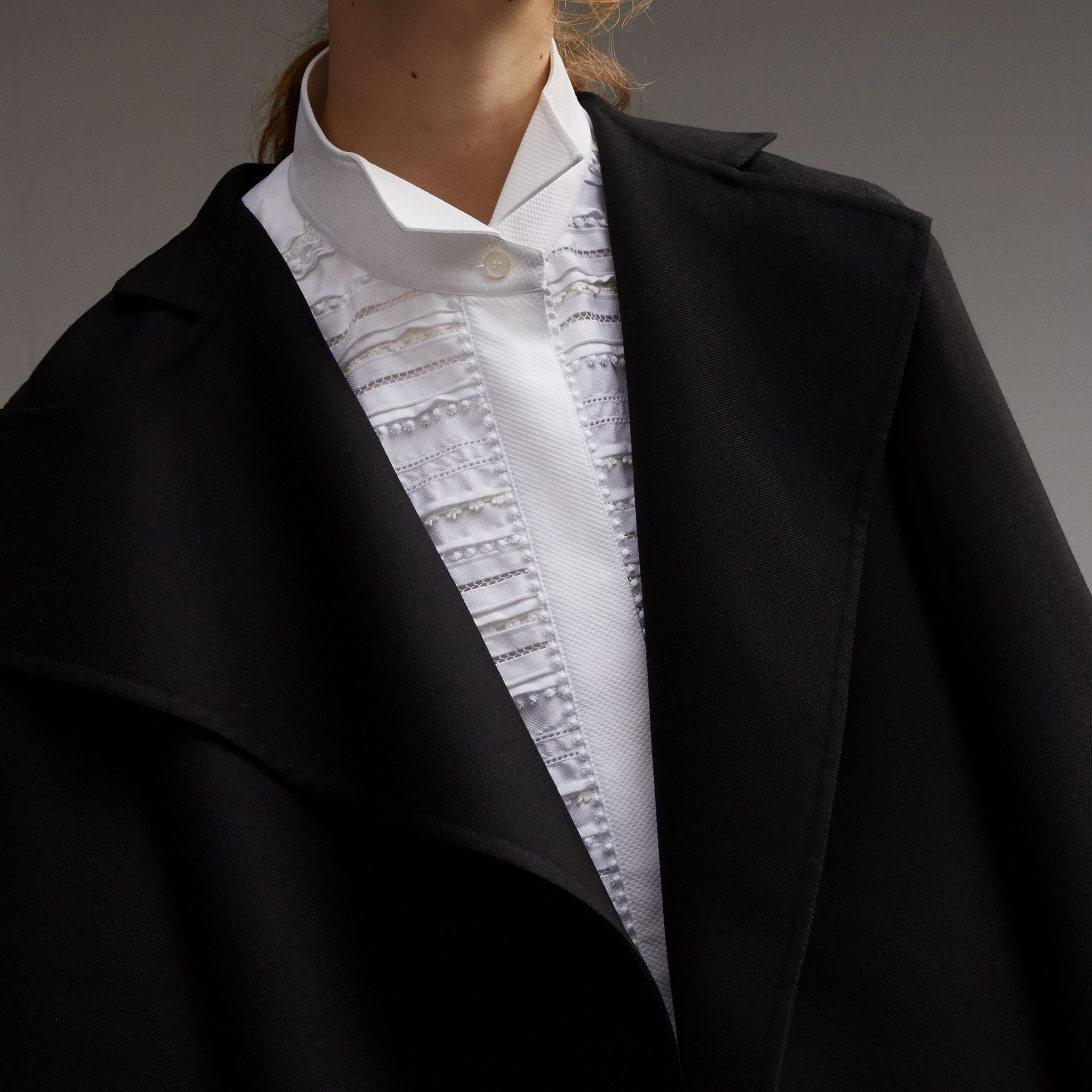 Bell-sleeve Double-faced Wool Cropped Jacket in Black - Women | Burberry - gallery image 5