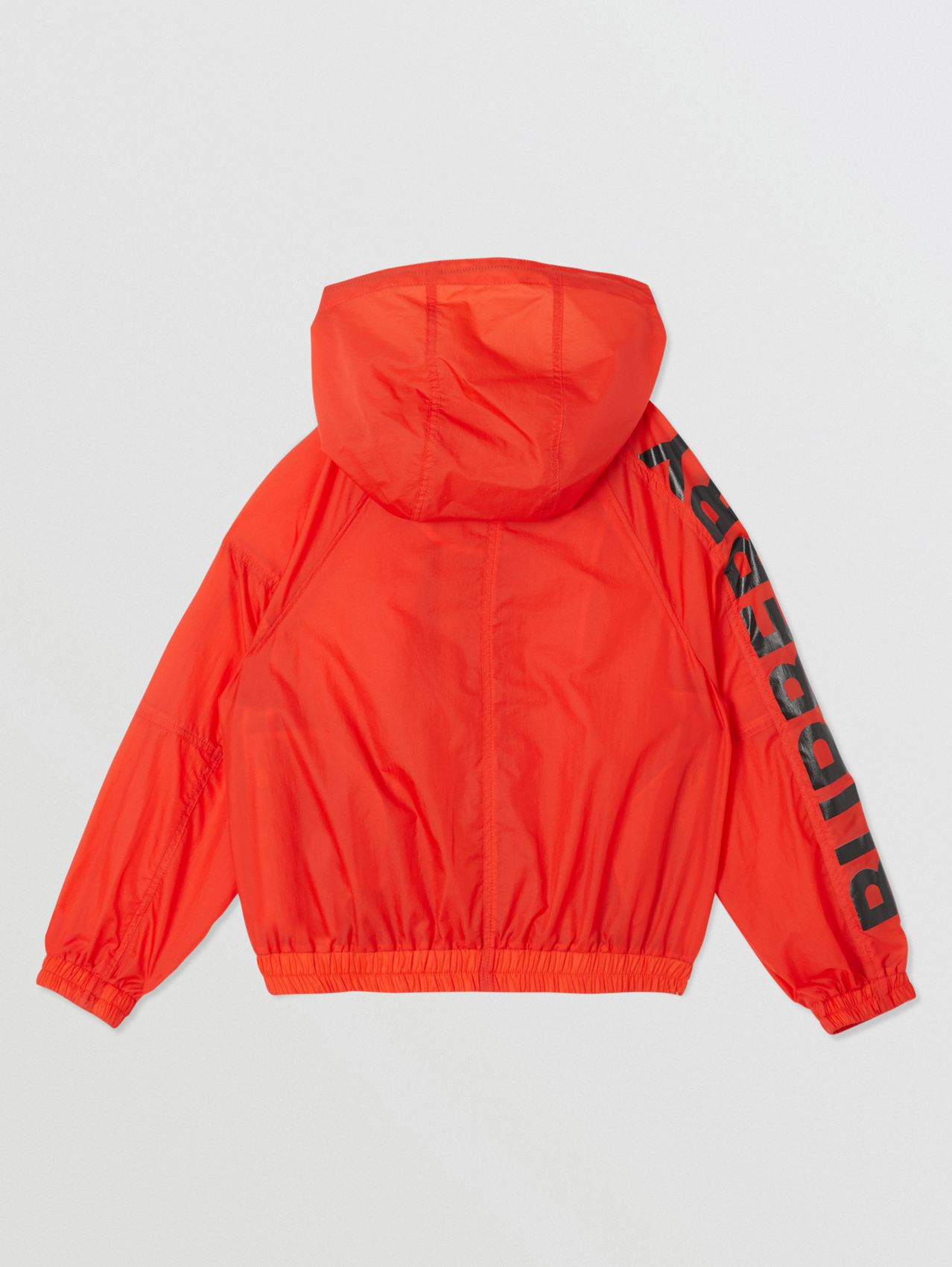 Star Detail Logo Print Lightweight Hooded Jacket in Vermilion Red