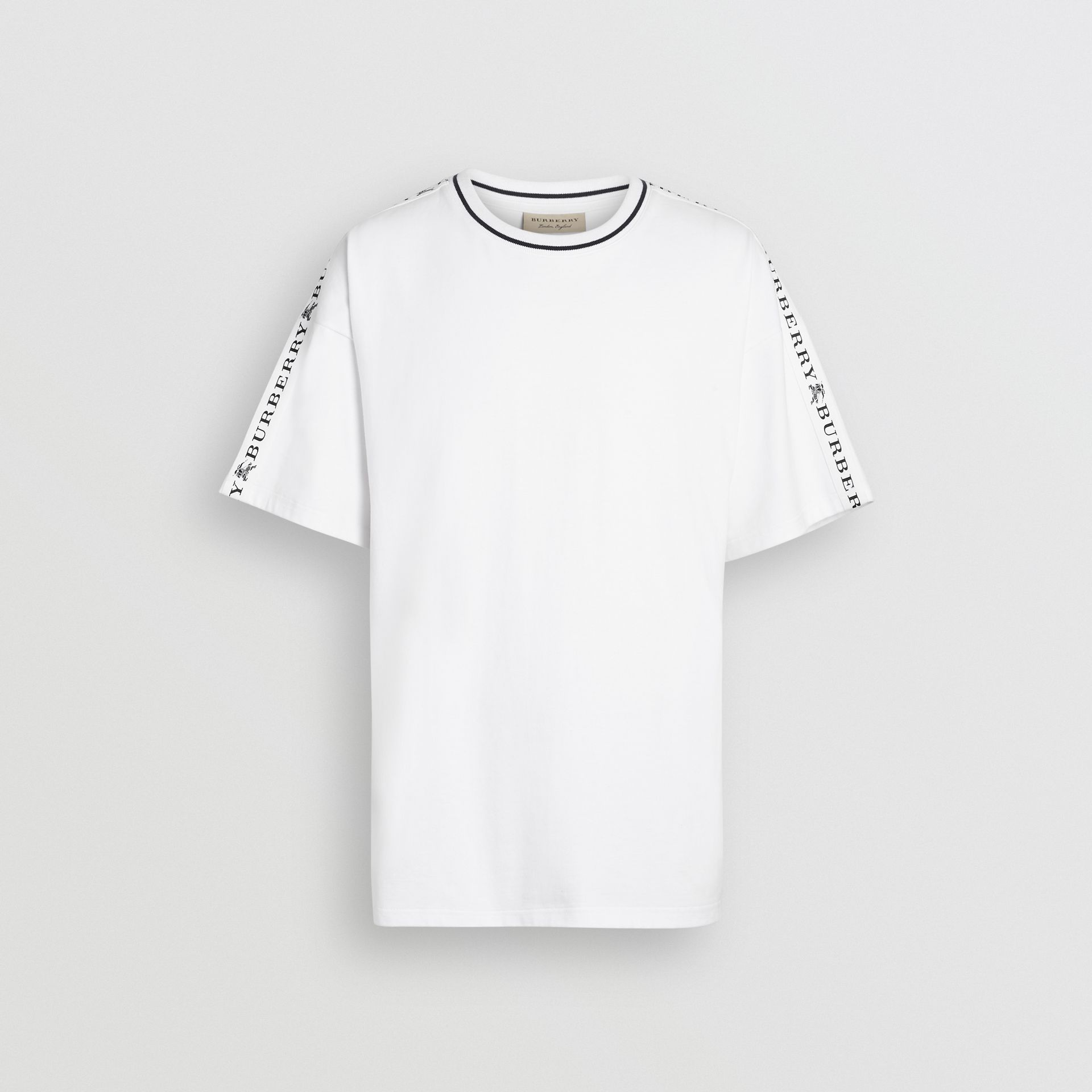 Tape Detail Cotton T-shirt in White - Men | Burberry - gallery image 3