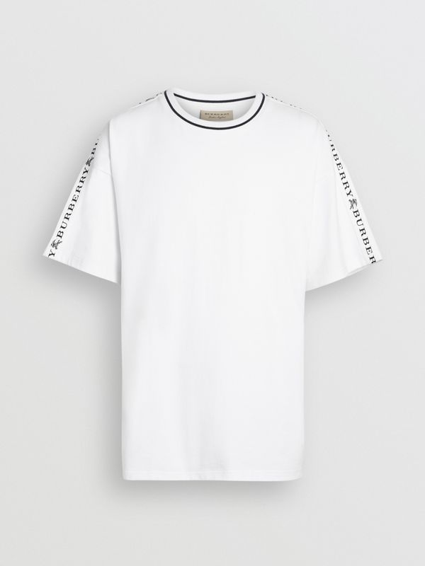 Tape Detail Cotton T-shirt in White - Men | Burberry - cell image 3