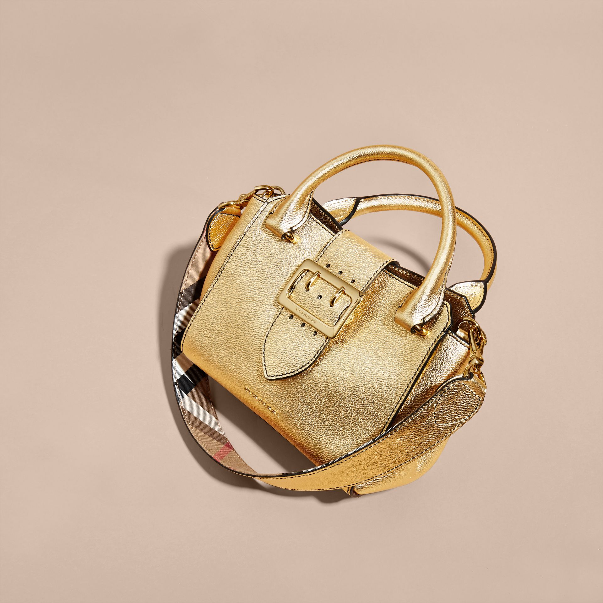 Gold The Small Buckle Tote in Metallic Leather - gallery image 4