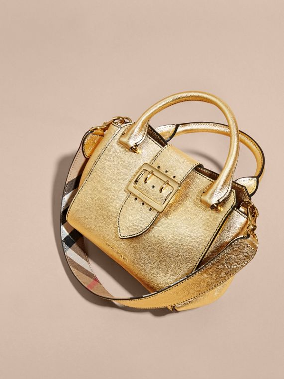 Gold The Small Buckle Tote in Metallic Leather - cell image 3