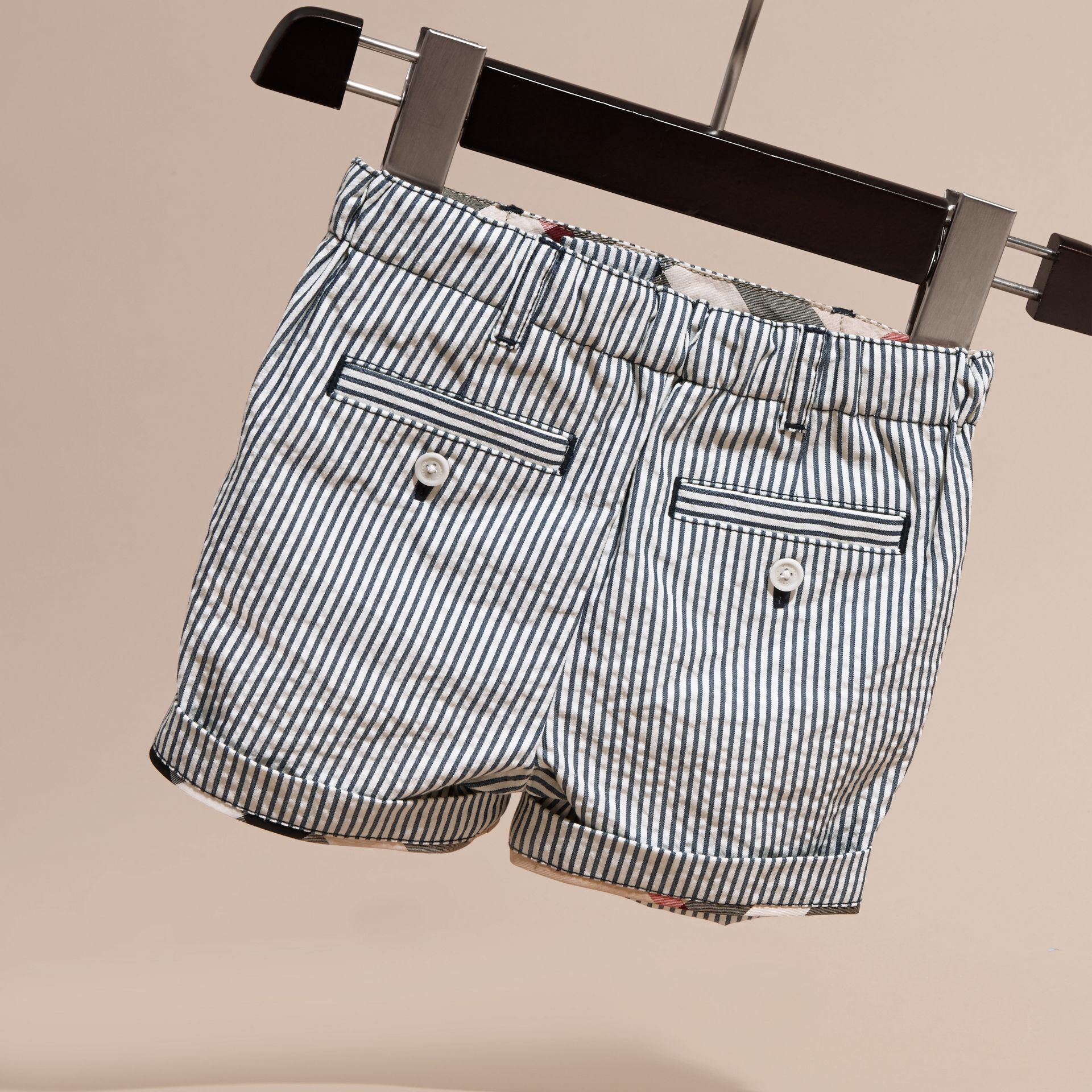 Striped Cotton Blend Shorts with Check Detail in Indigo | Burberry - gallery image 4
