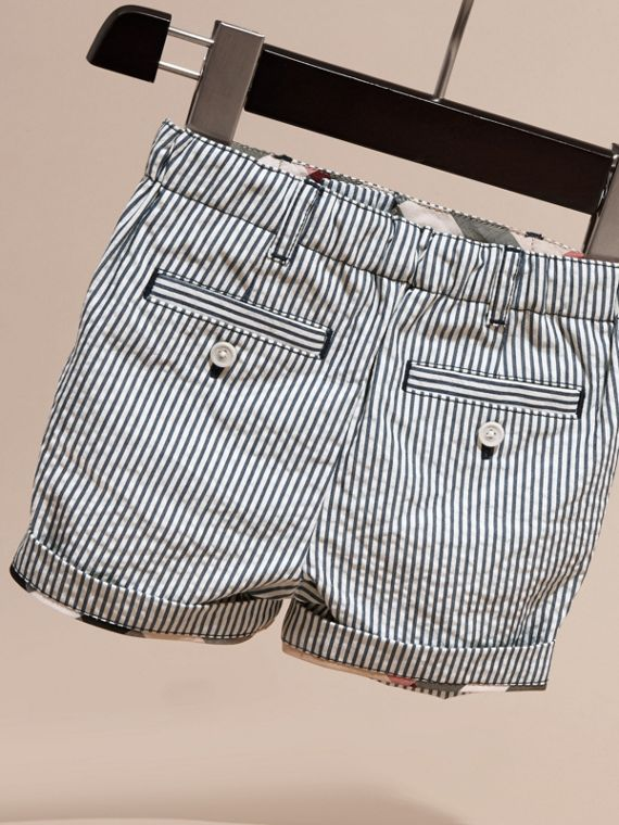 Striped Cotton Blend Shorts with Check Detail in Indigo | Burberry - cell image 3