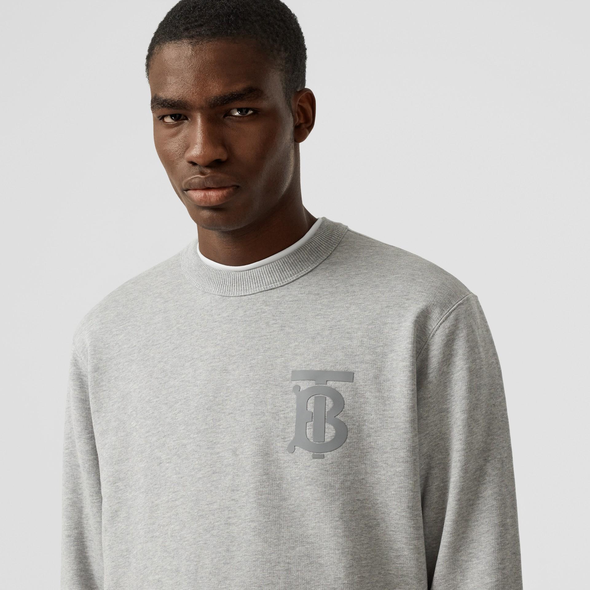 Monogram Motif Cotton Sweatshirt in Pale Grey Melange - Men | Burberry United Kingdom - gallery image 1