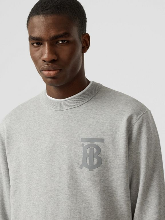 Monogram Motif Cotton Sweatshirt in Pale Grey Melange - Men | Burberry United Kingdom - cell image 1