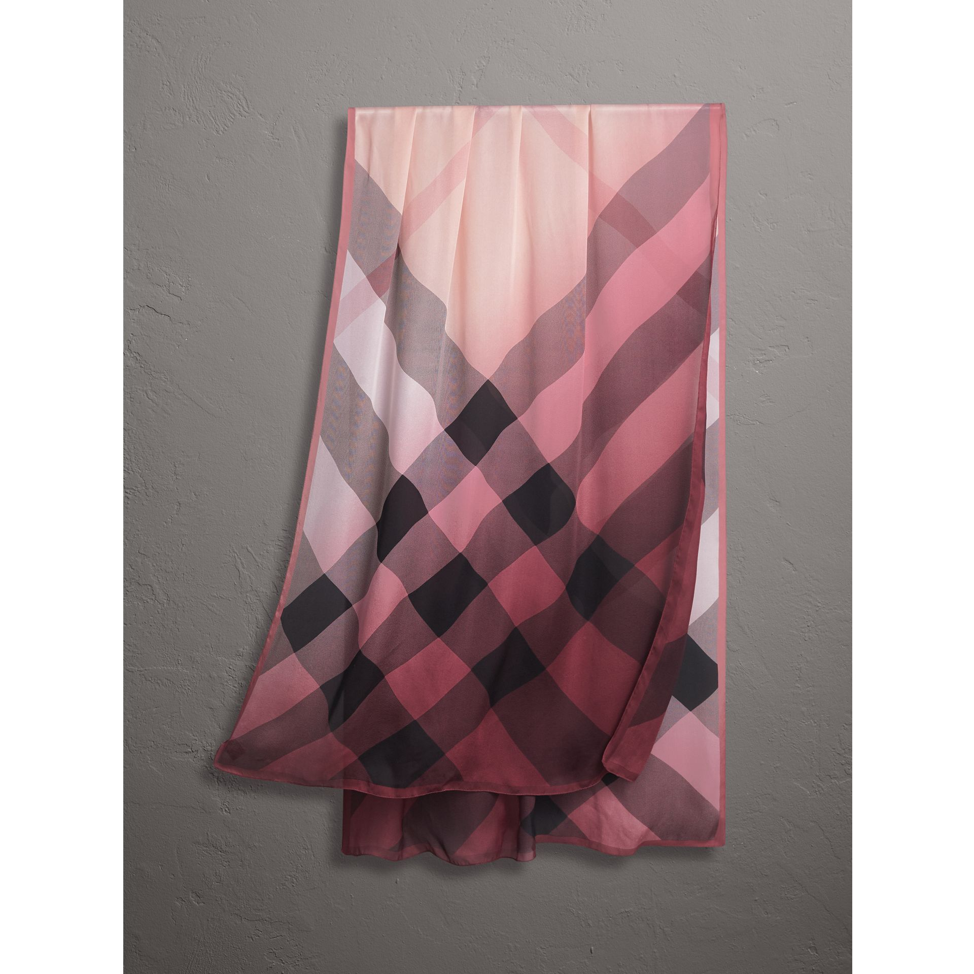 Ombré Washed Check Silk Scarf in Ash Rose - Women | Burberry - gallery image 1