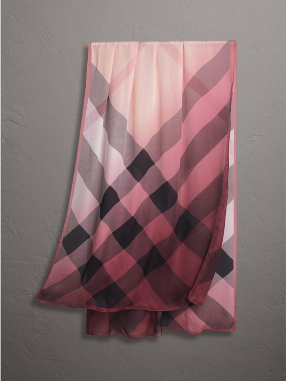 Ombré Washed Check Silk Scarf in Ash Rose