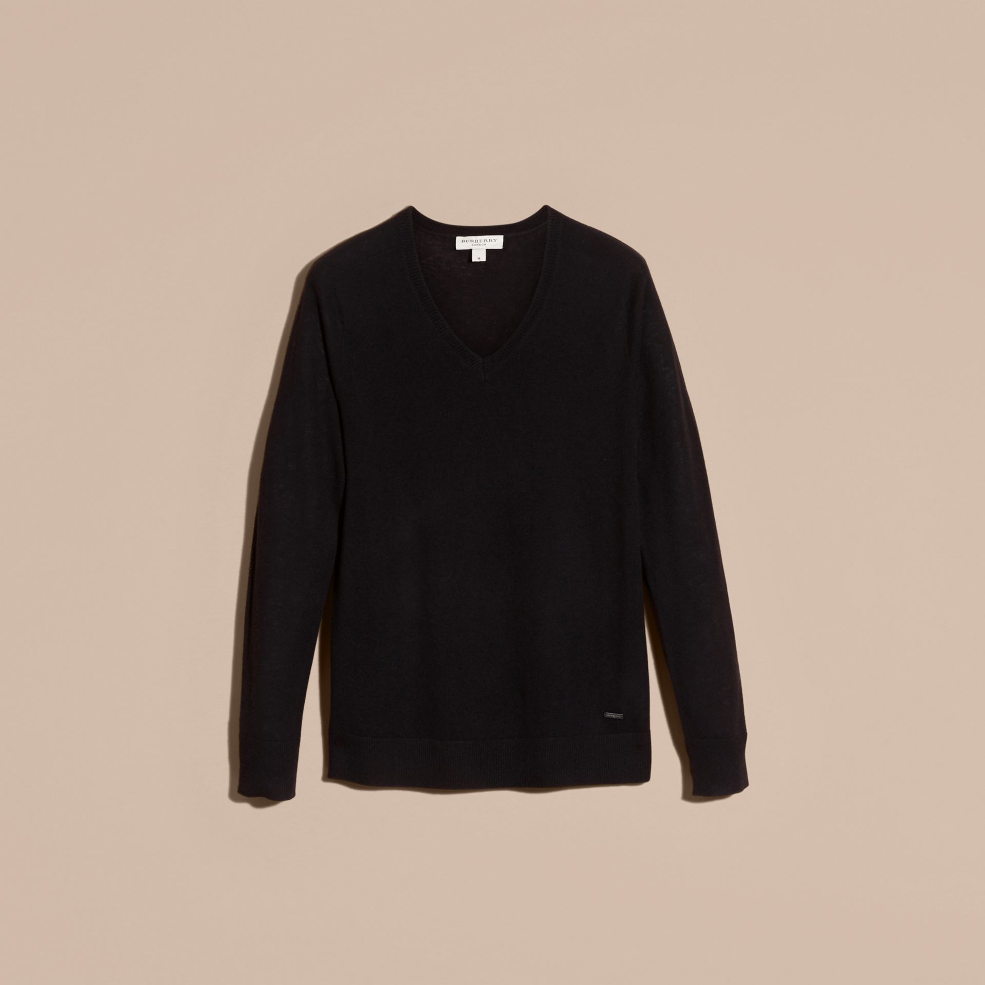 Black Cashmere V-neck Sweater Black - gallery image 4