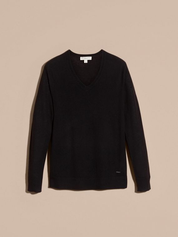 Black Cashmere V-neck Sweater Black - cell image 3